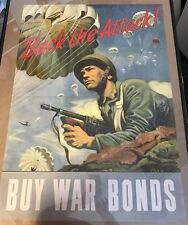 Original Authentic WWII 1943 Poster Back The Attack Buy War Bonds Vintage 20x28