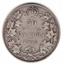 1910 Canada 50 Fifty Cents .925 Silver Half Dollar Coin A47
