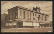 1910s POSTCARD REDDING CA/CALIFORNIA MASONIC TEMPLE OVER BUSINESS STORE VICTROLA