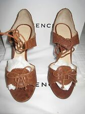NIB GIVENCHY TAN LEATHER TIE HIGH HEELED SANDAlS SIZE 37 1/2/ 7 1/2 $800 VALUE