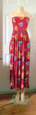 RED ROSES FLORAL STRIPE SUMMER ELASTIC DRESS MAXI LONG STRAPLESS ELASTIC TOP 2X