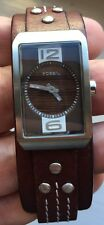 LADIES FOSSIL JR-9688 BROWN LEATHER STRAP WATCH INCLUDING ORIGINAL TIN