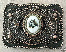 Equestrian Horse Cameo copper layered rectangle belt buckle NEW 3.5 x 2.75