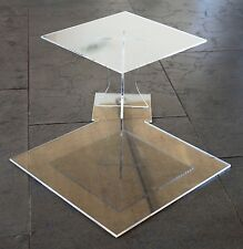 Supporto a torta Acrilico alzate matrimonio 2 PIANI PLEXIGLAS 25x25 30x30 cm