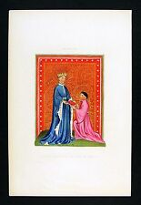 1843 Henry Shaw Print - Poet Occleve Presenting His Book to Henry V - England