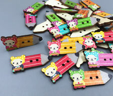 20pc Retro Wooden Buttons sewing pencil-shape scrapbooking 2 hole Crafts 33mm