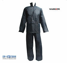 Warrior Waterproof Rain Suit Jacket Trousers Set  Over Suit Hooded Dri 2XL - 3XL