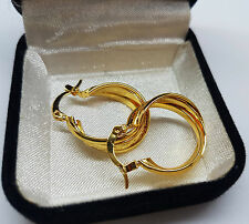 18CT GOLD FINISHED TWISTED CREOLE EAR 8MM THICK HOOP EARRINGS JEWELRY