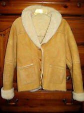 THE TERRITORY AHEAD Yellow Shearling Sheepskin Suede Leather Jacket Coat S~NICE!