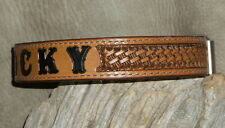 "Custom 1 1/4"" Leather Dog Collar Personalized, Your Dogs Name, Hand Tooled. G&E"