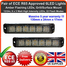 2 x 6LED 12V 24V Amber Strobe Flashing Lights Recovery Lightbar Beacon Truck Van