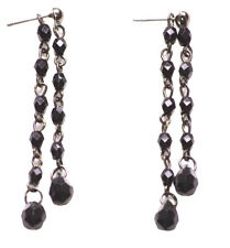 Lavish, Grand & Sophisticated Coal Black/double Strandc Crystal Earring.(Zx97)