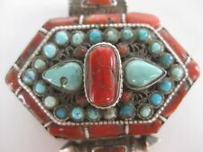 Sterling Silver Gau Locket ~ Stunning unique Buddhist turquoise coral pendant