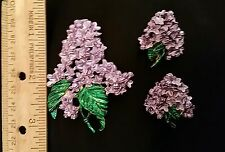 Large Vtg Lavender Lilac Enamel Flower Brooch Pin & Pierced Earrings Set Paurer