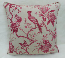 Sanderson Fabric Cushion Cover  'Pillemont Toile' Linen/Cerise - Linen Blend