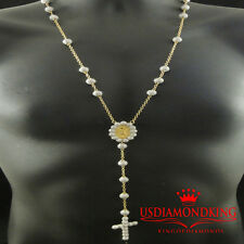 14k Yellow Gold Finish 2 TONE Bead Ball Box Chain Designer Rosary Necklace Marry