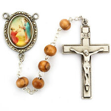 Rosary St. Peter Apostle Deluxe Pewter Rosary 6x8mm Olive Wood Bead Catholic Box