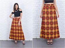 Vintage 70s Red + Yellow Mod Skirt Plaid Striped Maxi A Line High Waist XS