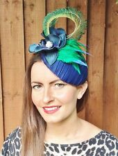 NAVY BLUE GREEN FLOWER PEACOCK HAT HEADPIECE FASCINATOR VINTAGE WEDDING RACES