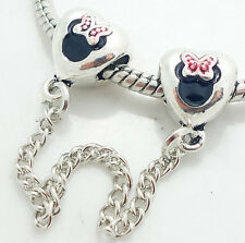 1PCS Silver Stopper Locks Beads Clip Safety Chain To Fit Charm Bracelet SH143