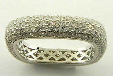 LADIES STERLING SILVER MICRO PAVE CUBIC ZIRCONIA SQUARE RING SIZE 9