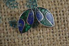 VINTAGE CHILEAN fine SILVER malachite and lapis lazuli clip earrings 1970s 950