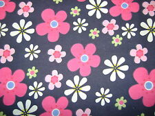 Flower Power Navy Polycotton Prints Craft/Dress Fabric SOLD PER METRE