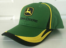 John Deere Classic Green Fabric Hat Cap w Yellow & Black Details and Logo