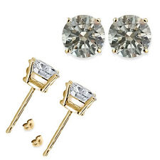2 Carat Round White CZ 925 Silver Yellow Gold Plated Mens Man Mans Stud Earrings