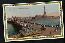 L@@K  North Pier and Promenade Blackpool 1918 Postcard ~ NICE COLOURS
