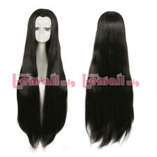 Women Japan Geisha ancient maple Beauty Tip Black long Widow's peak Cosplay Wig