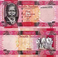 SOUTH SUDAN 5 Pounds banknotes World Paper Money UNC Currency Pick p-6 (2011)