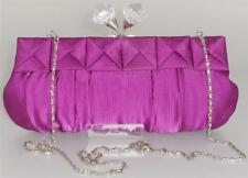 BRAND NEW WOMENS LADIES SMALL CLASP SATIN CANVAS CLUTCH CHAIN STRAP PURSE PURPLE