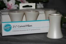 "4pk 2 1/2"" White Wilton Curved Wedding Cake Separator Decorator Pillars 658"