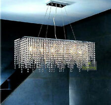 Modern Chandelier Dining Room Pendant Lamp Rectangle Rain Drop Crystal Lighting