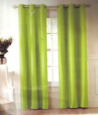 2 LIME GREEN  SOLID GROMMET LINED BLACKOUT WINDOW CURTAIN MICROFIBER PANELS
