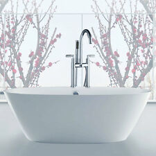 New Polish Chrome Bathroom Bath Tub Filler Faucet Deck Mounted W/Spray