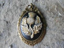 *2 IN 1 -SCOTTISH THISTLE (HAND PAINTED) CAMEO BROOCH / PIN / PENDANT - SCOTLAND