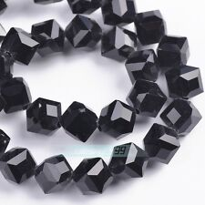 10/50pcs Cube Diagonal Hole 8mm Square Faceted Crystal Glass Charms Loose Beads
