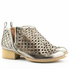 Jeffrey Campbell Taggart Cutout Pewter Leather Bootie *SIZE 8*
