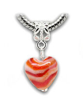 Red White Orange Murano Glass Heart Dangle Bead fits European Charm Bracelets