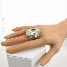 JENNIFER LOPEZ Size 8 SILVER Tone Faux CLEAR CRYSTAL RING Wavy OVAL Gift Box