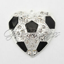 45x45mm Heart Soccor Rhinestone Pendant For Chunky Necklace Beads
