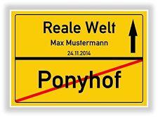 Ortsschild - Bild - Ponyhof - Reale Welt - Geschenkidee Abschluss Schulabschluss