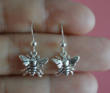 925 Sterling Silver Insect Bumble Honey Bee Dangle Hook Earrings Jewelry