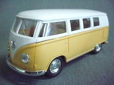 Kinsmart®  Volkswagen Bulli Bus 1962 gelb 1:32 Rückzugsmotor neu mit weißem Dach