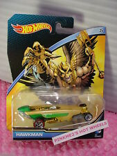 2016 DC COMICS Hot Wheels❊HAWKMAN❊Gold; Redline ❊1/64 diecast character car ❊