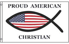 3x5 Ft PROUD AMERICAN CHRISTIAN Fish Jesus Christ Banner Flag
