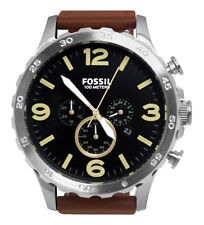 Fossil JR1475 Nate Black Chronograph Date Analog Dial Brown Leather Band Watch