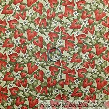BonEful Fabric FQ Cotton Quilt Green Red Strawberry Flower Leaf Country Fruit Sm